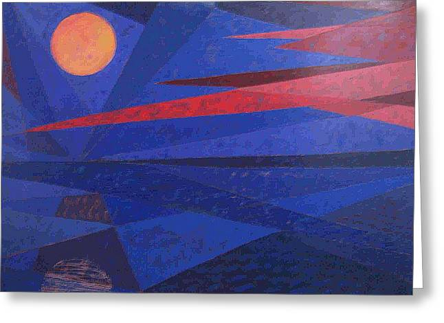 Greeting Card featuring the painting Moon Reflecting On A Lake by Walter Casaravilla