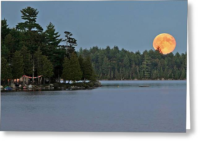 Greeting Card featuring the photograph Moon Rise At The Lake by Barbara West