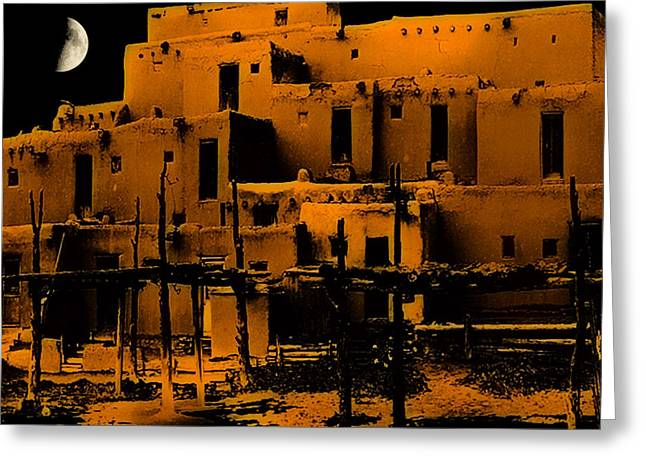 Moon Rise At The Pueblo Greeting Card