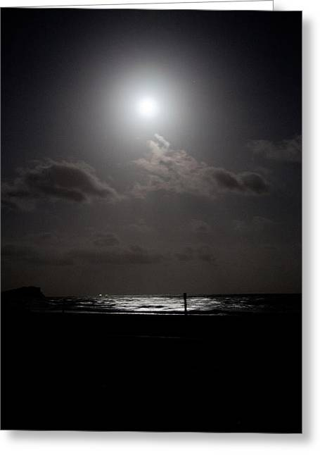 Moon Rise Over Ocean Greeting Card