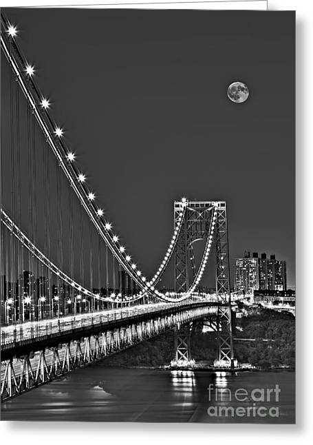 Moon Rise Over The George Washington Bridge Bw Greeting Card