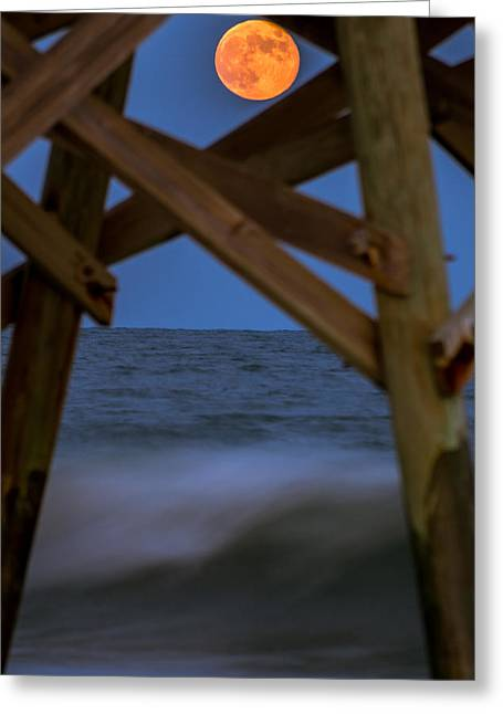 Moon Rise Under Pier Greeting Card