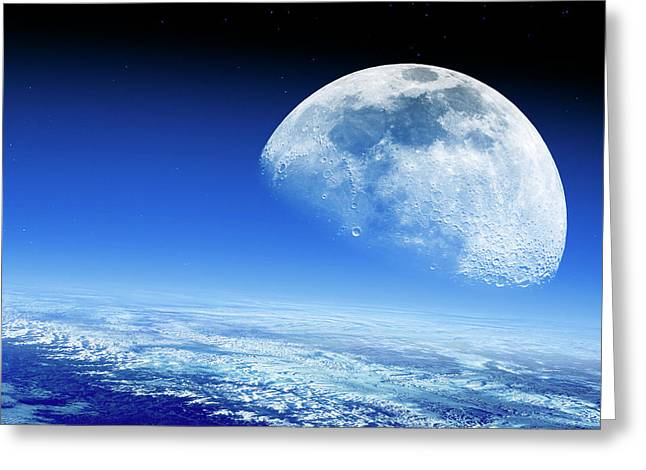 Moon Rising Over Earth's Horizon Greeting Card by Detlev Van Ravenswaay