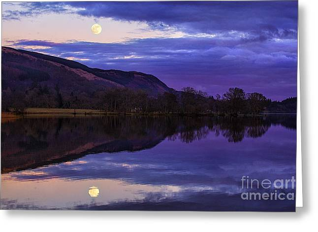 Moon Rising Over Loch Ard Greeting Card