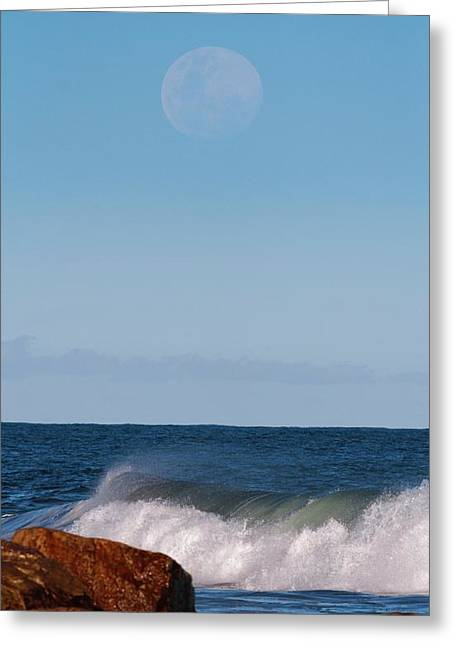Moon Rising Over The Sea Greeting Card by Luis Argerich