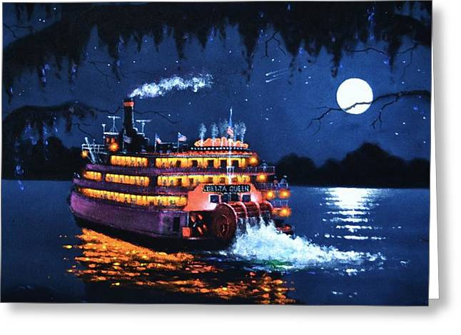 Moon River Greeting Card by Thomas Kolendra