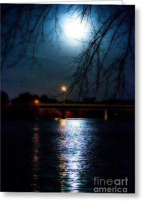 Moon Set Lake Pleasurehouse Greeting Card
