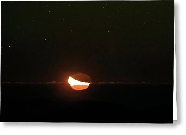 Moon Setting Behind An Inversion Layer Greeting Card