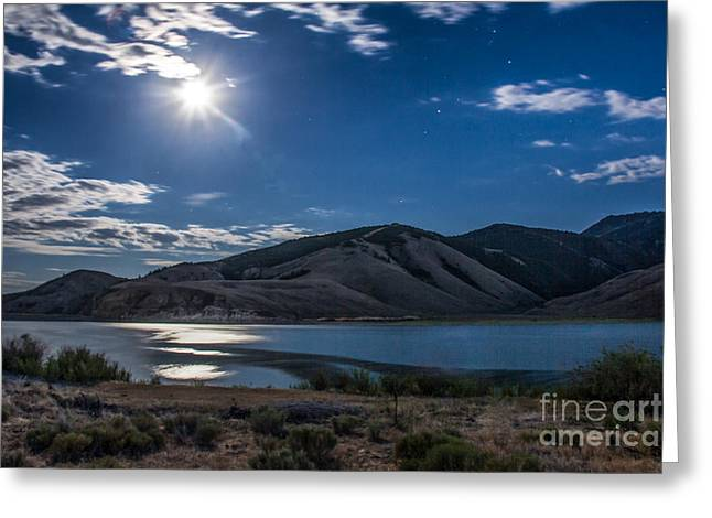 Moon Setting Over Reservoir Greeting Card