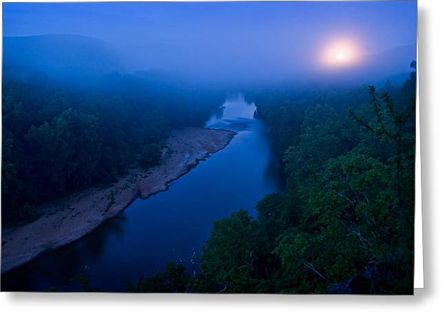 Moon Setting Over The Current River Greeting Card