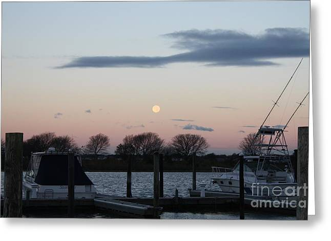 Moon Setting Over The Marina Greeting Card