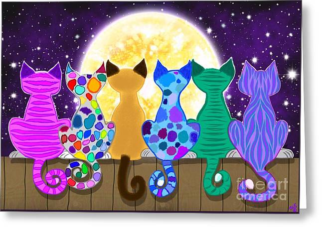 Moon Shadow Meow Greeting Card by Nick Gustafson