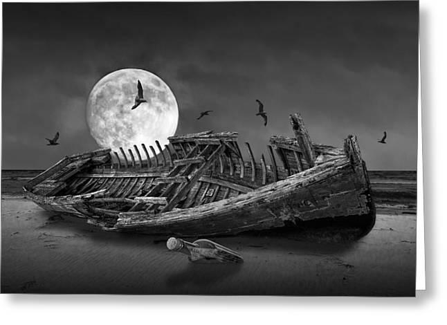 Moon Shipwreck Greeting Card