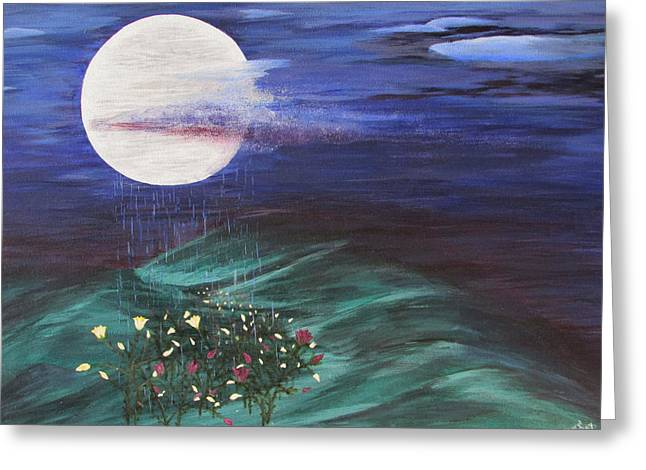 Greeting Card featuring the painting Moon Showers by Cheryl Bailey