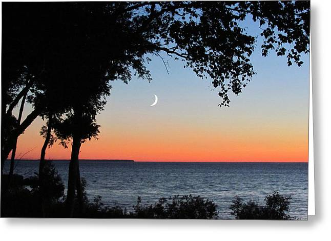 Moon Sliver At Sunset Greeting Card by David T Wilkinson