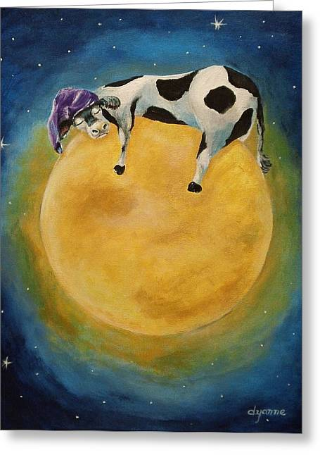mOOn Snooze Greeting Card by Dyanne Parker