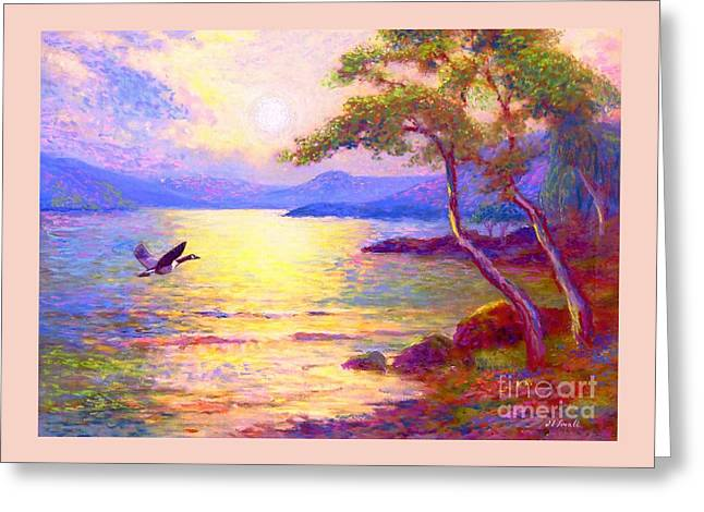 Greeting Card featuring the painting  Wild Goose, Moon Song by Jane Small