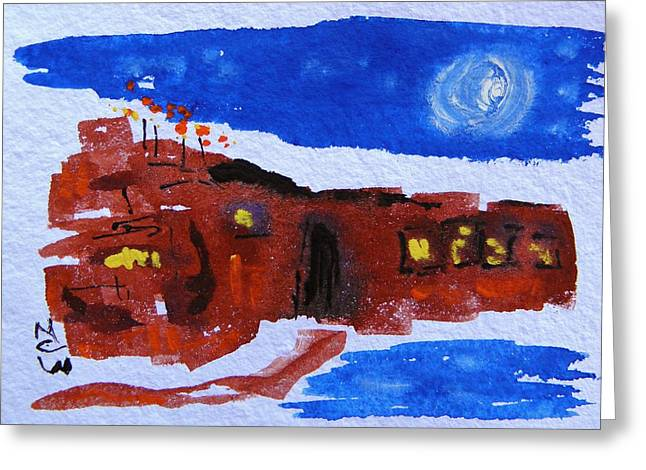 Moon Stars Steel Mill Greeting Card by Mary Carol Williams