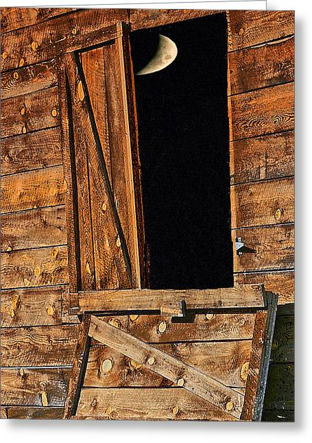 Moon Through The Barn Door Greeting Card