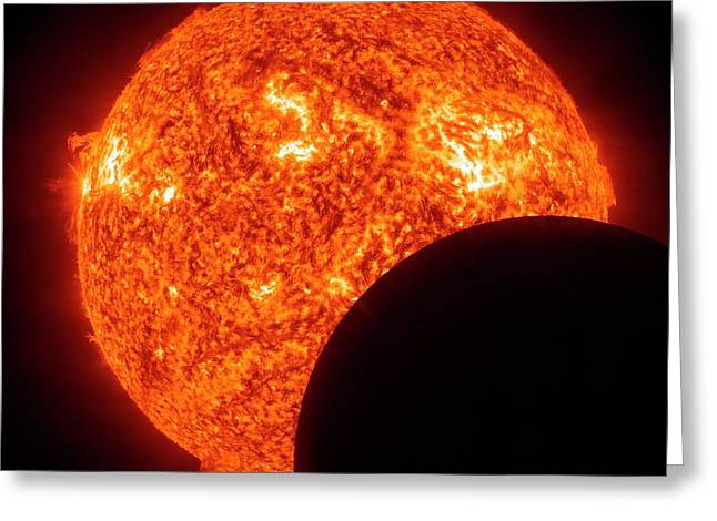 Moon Transiting The Sun From The Sdo Greeting Card