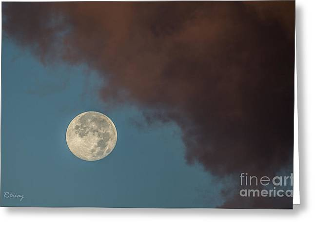 Moon Transition From Night To Day Greeting Card by Rene Triay Photography