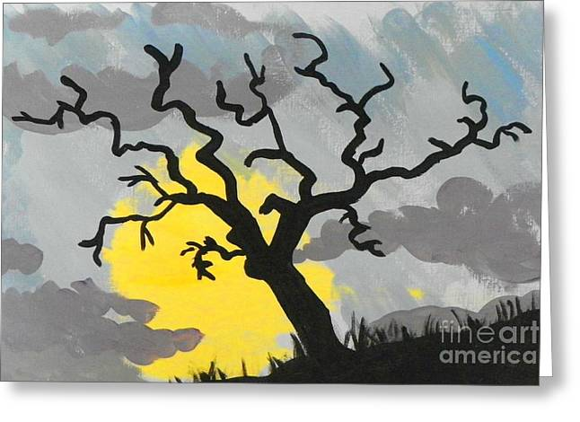 Greeting Card featuring the painting Moon Tree by Marisela Mungia