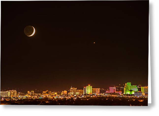 Moon-venus Over Reno Greeting Card by Janis Knight