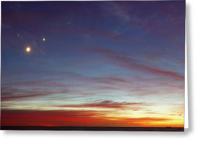 Moon With Jupiter And Venus Greeting Card by Luis Argerich