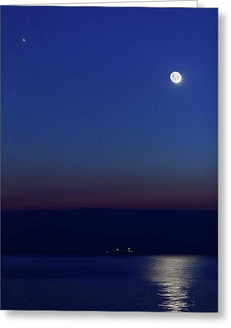 Moon With Jupiter Greeting Card by Luis Argerich