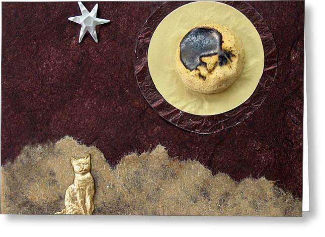 Moonbeam Cat Greeting Card by Ellen Miffitt