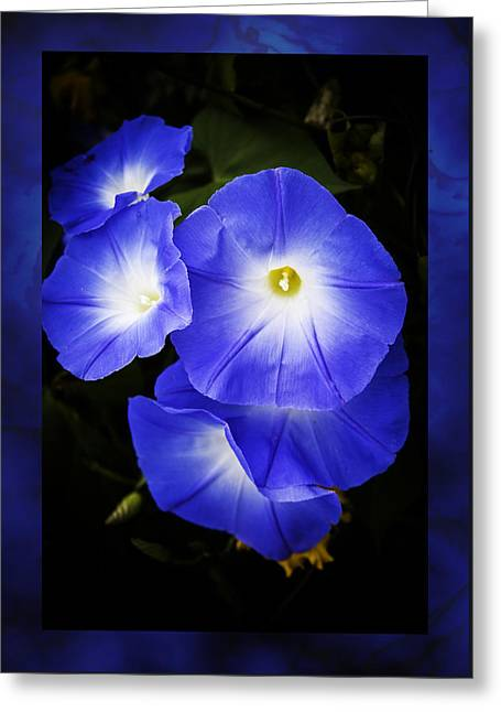 Moonglow On Blue Greeting Card by Jeff Folger