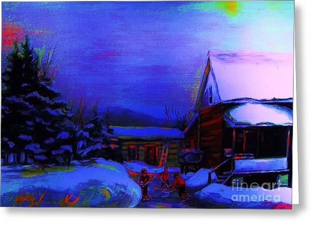 Moonglow On Powder Greeting Card by Carole Spandau