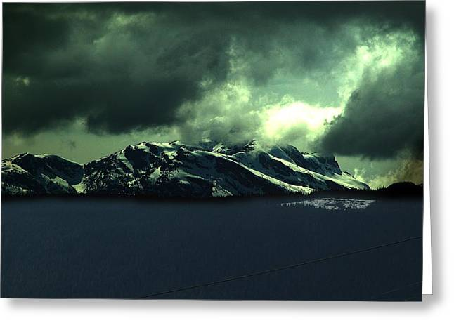 Moonlight And Mountains Greeting Card by Janet Ashworth