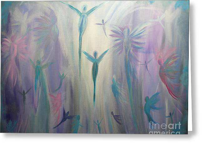 Moonlight Angels Greeting Card by Stacey Zimmerman