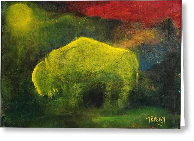 Moonlight Buffalo Greeting Card