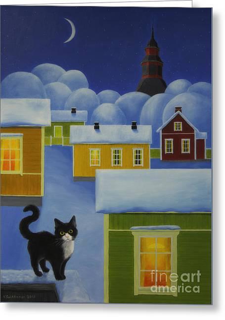 Moonlight Cat Greeting Card by Veikko Suikkanen