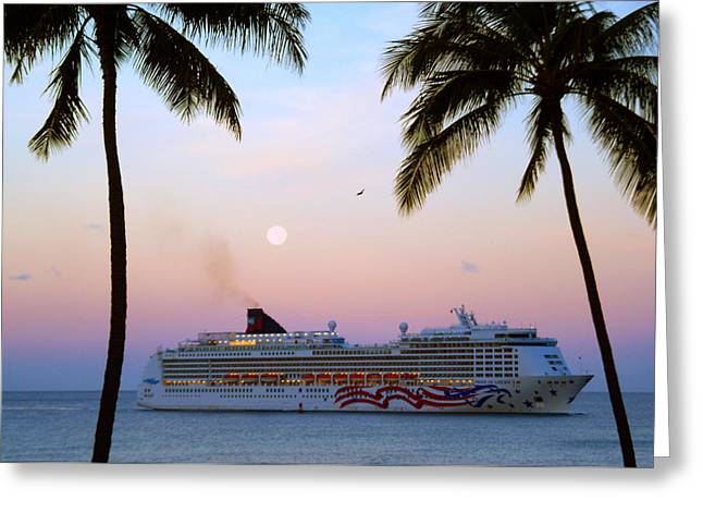 Moonlight Cruise In Paradise Greeting Card by Kevin Smith