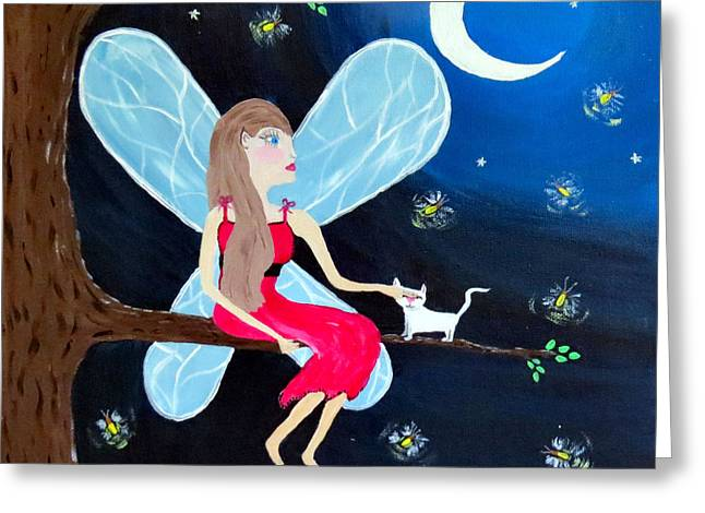 Moonlight Fairy And Fireflies Greeting Card