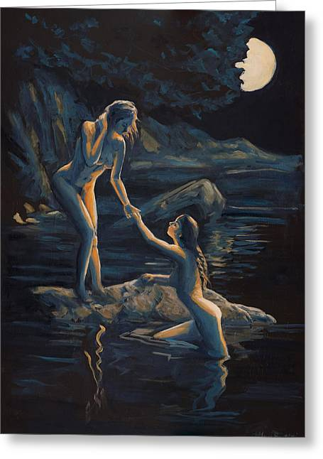 Moonlight Flame Greeting Card by Marco Busoni