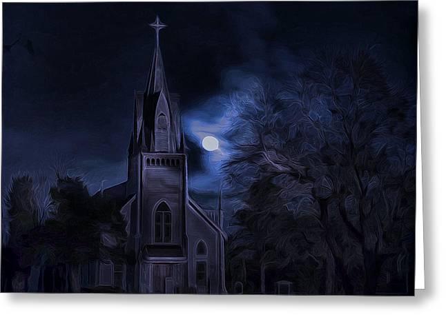 Moonlight Greeting Card by Hazel Billingsley