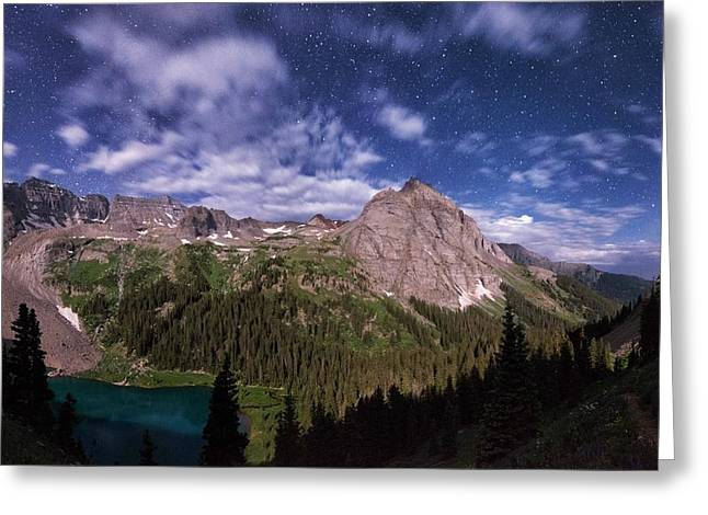 Moonlight Hiking On The Blue Lakes Trail Greeting Card