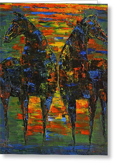 Moonlight Horses Greeting Card