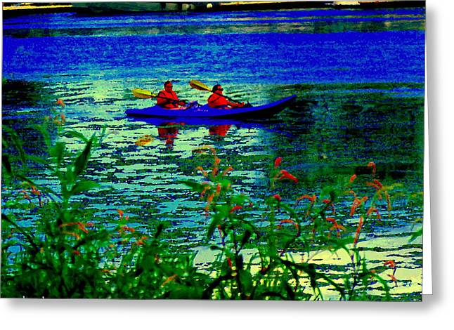 Moonlight Kayak Ride Along The Coastline Of The Lachine Canal Quebec Sea Scenes Carole Spandau Greeting Card by Carole Spandau