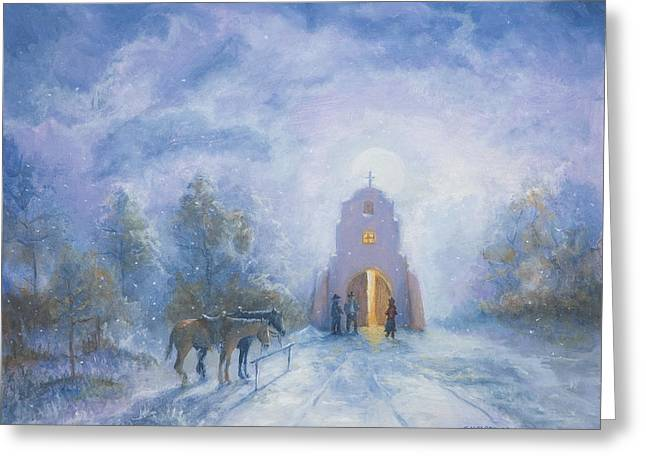 Moonlight Mass Greeting Card by Jerry McElroy