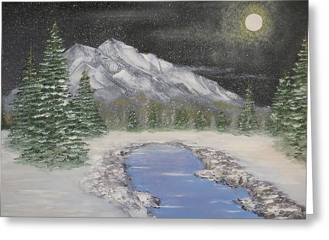 Moonlight Mountain Greeting Card by Tim Townsend
