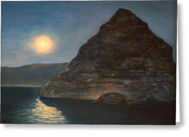 Greeting Card featuring the painting Moonlight On Pyramid Lake by Donna Tucker