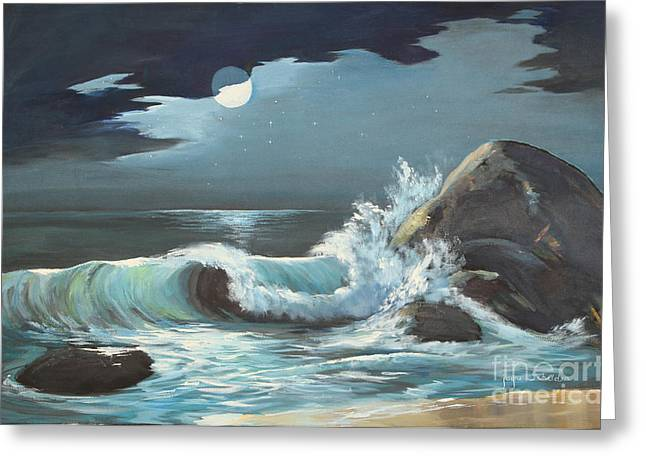 Moonlight On Waves Greeting Card by Jayne Schelden