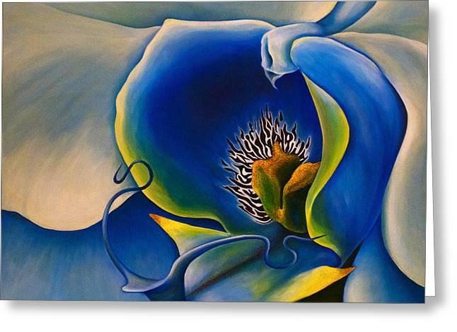 Moonlight Orchid Greeting Card by Debra Bucci