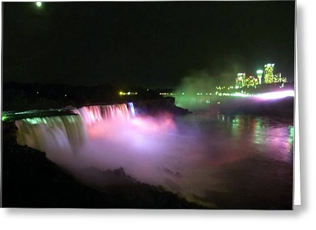 Moonlight Over A Luminous Niagara Falls N.y. Greeting Card by Danielle  Parent