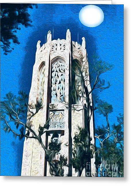 Bok Singing Tower Under The Moon Greeting Card by Ecinja Art Works